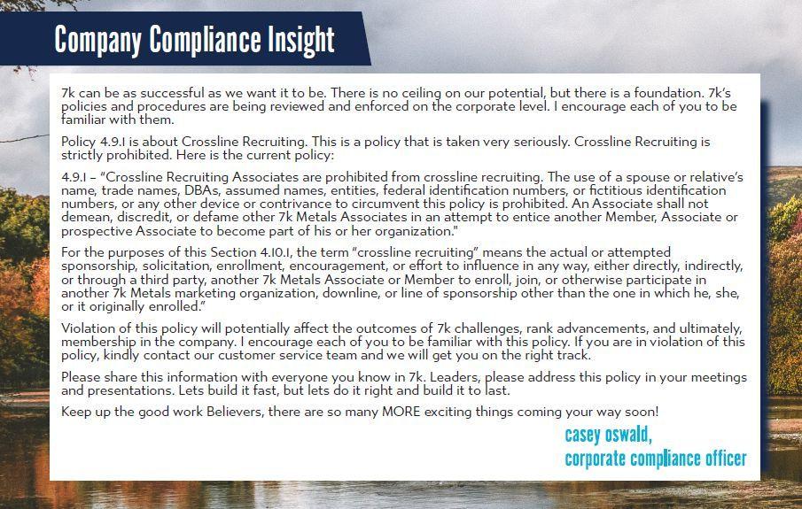 November 2020 Vault Report 7k company compliance