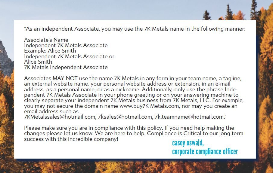 7k metals corporate policy