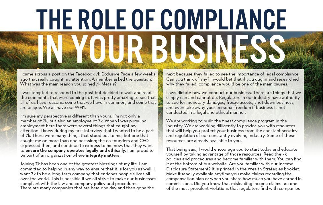 the role of compliance in your 7k metals business