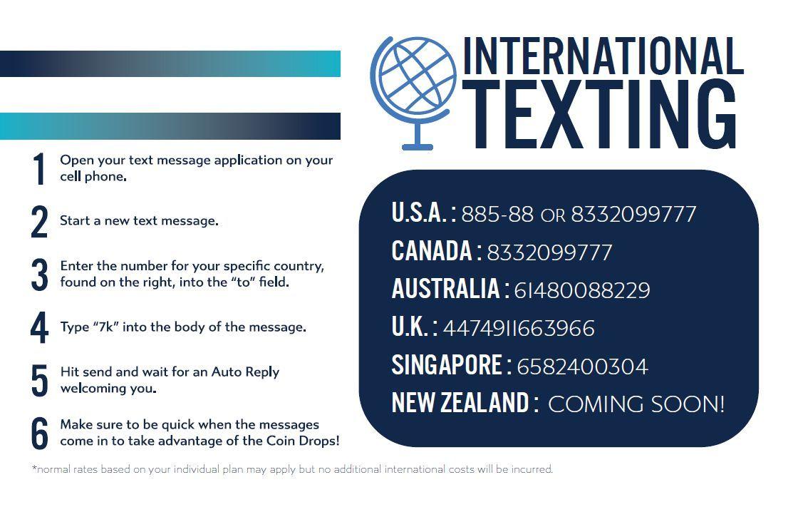 7k international texting numbers