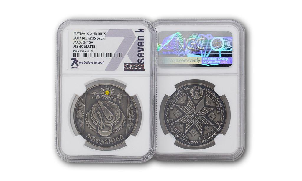 2007 Festivals and Rites Belarus Maslenitsa MS69 Matte Silver Coin