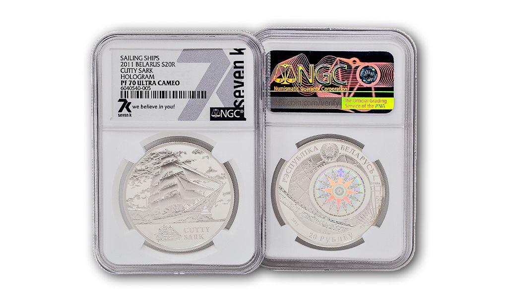 2011 Sailing Ships Belarus Cutty Sark Hologram PF70 Ultra Cameo Silver Coin