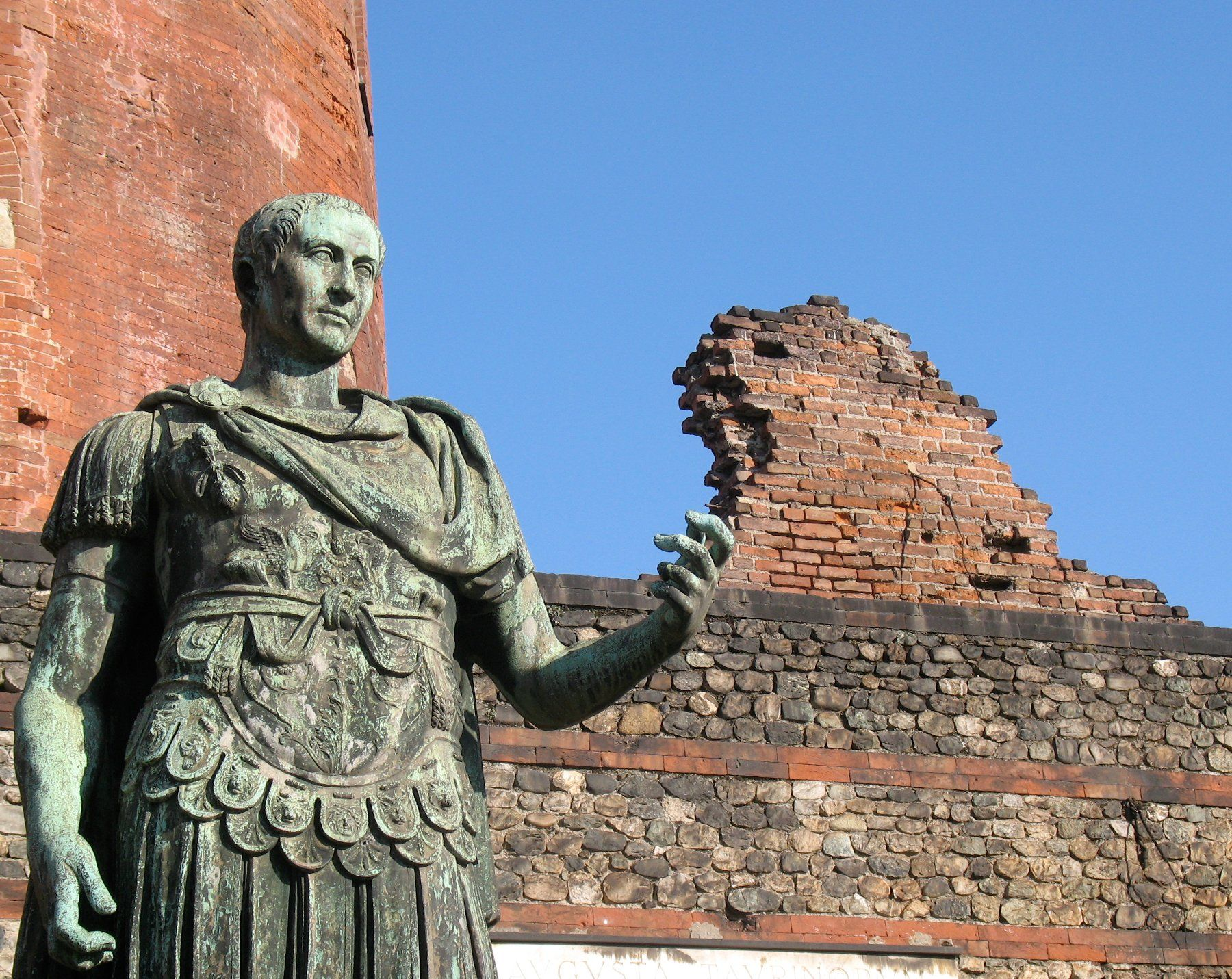 Statue of Julius Caesar at the ancient Porta Palatina in Turin, Italy.