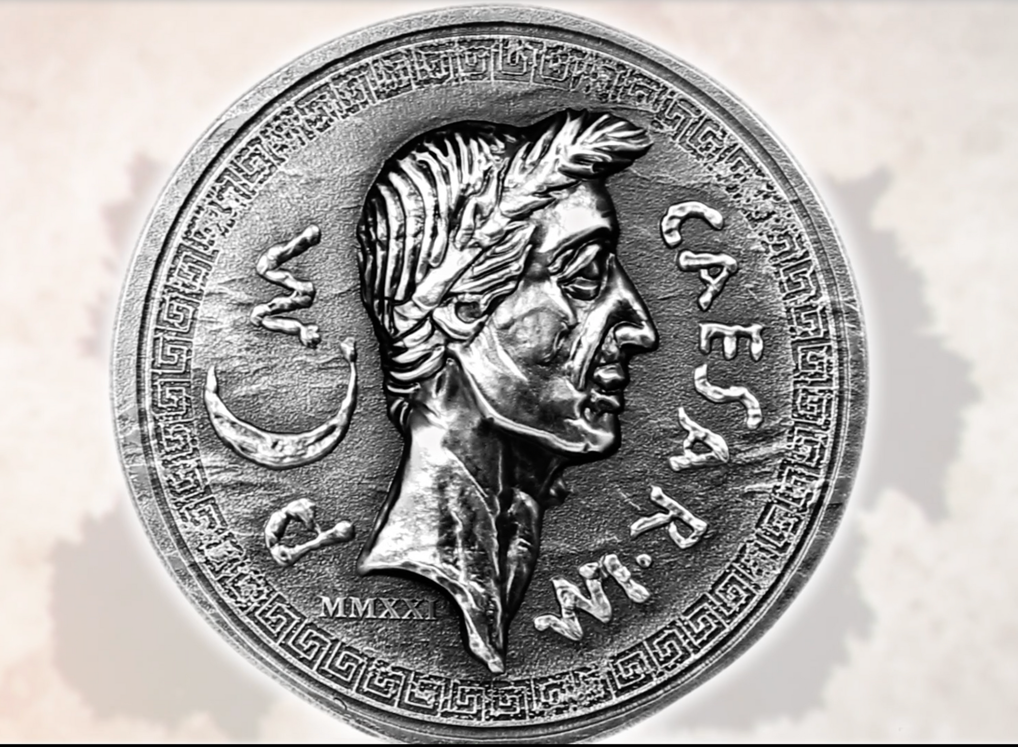 silver replica of original Julius Caesar Roman Denarius
