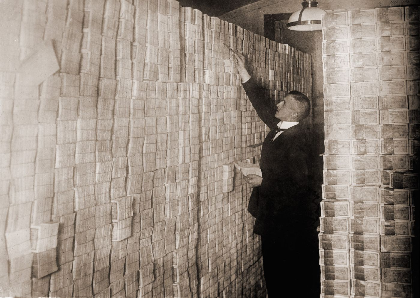 Piles of German money in a Berlin bank during post-World War I hyper-inflation