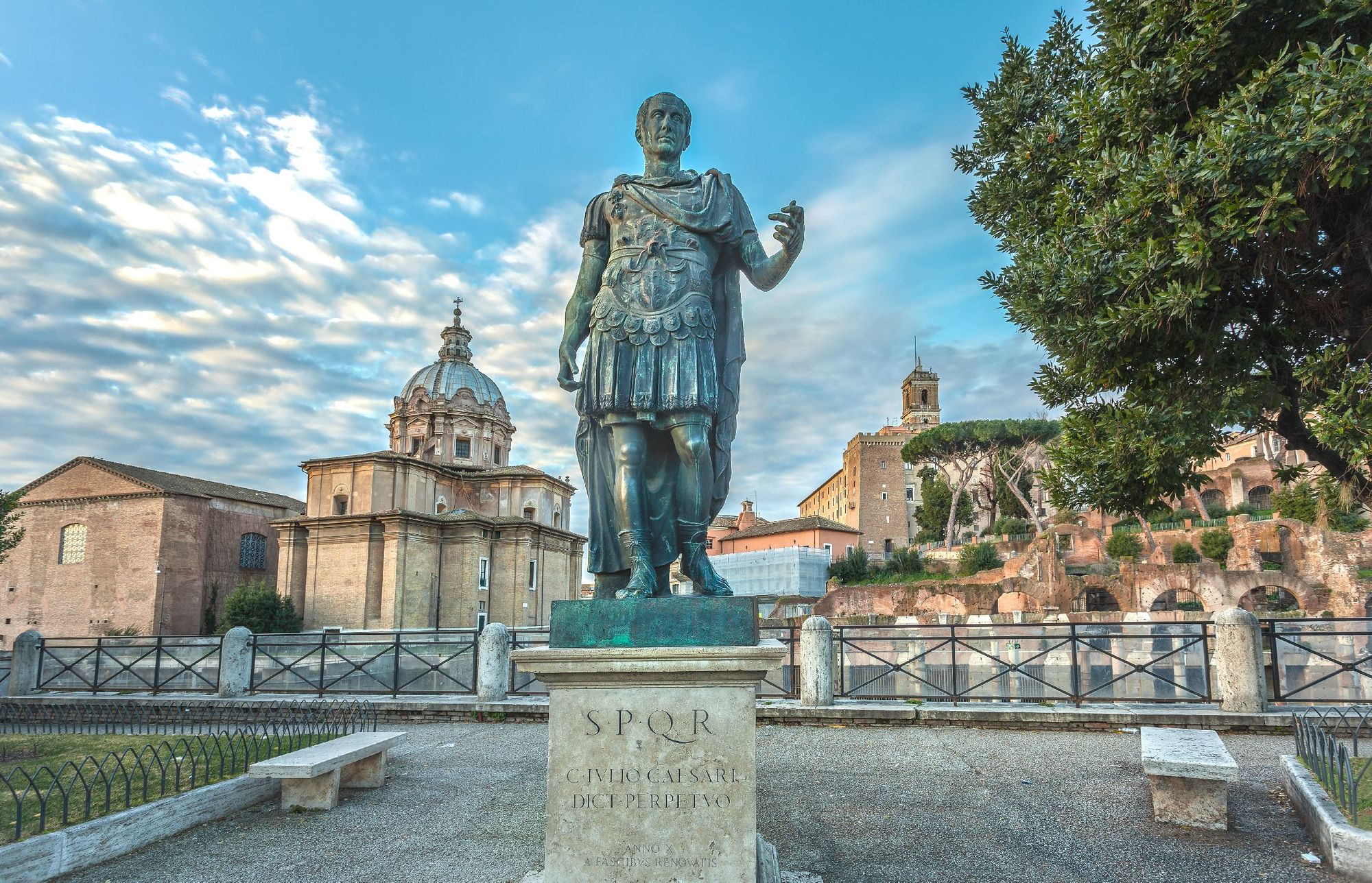 Bronze statue of Julius Caesar on the Roman Forum in Rome, Italy
