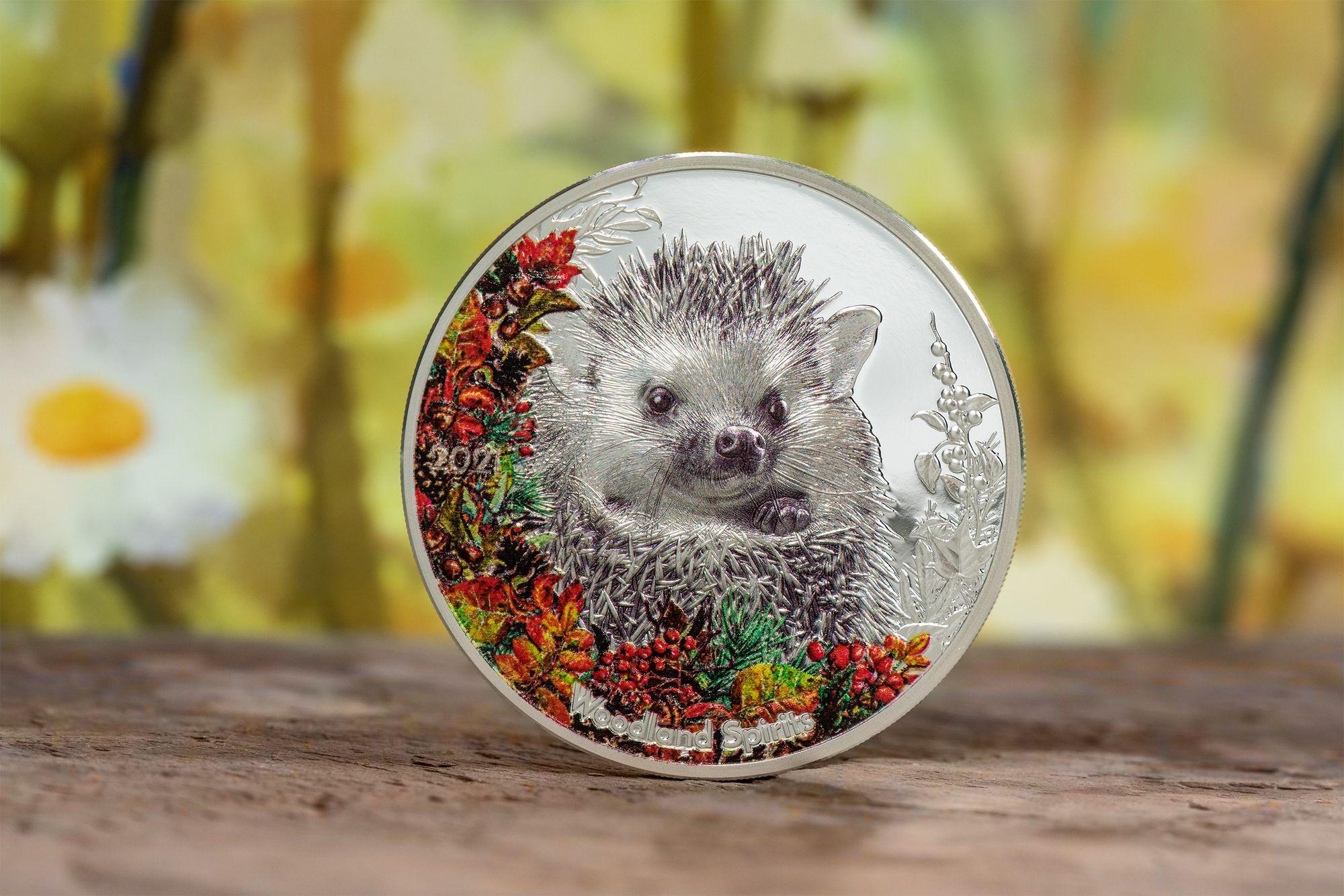 2021 Woodland Spirits Hedgehog 1oz Silver Coin