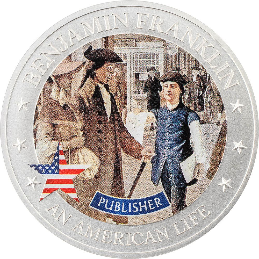 2021 An American Life Benjamin Franklin Publisher .5 ounce Silver Coin