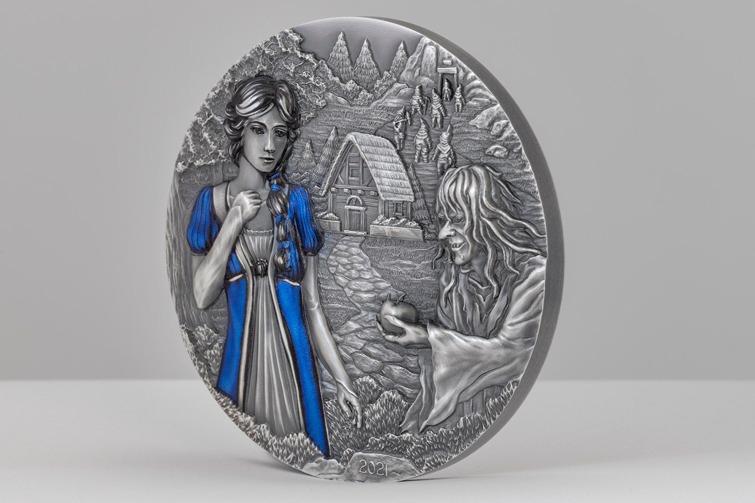2021 Fairy Tales and Fables Snow White and the Seven Dwarves 3oz Silver Coin