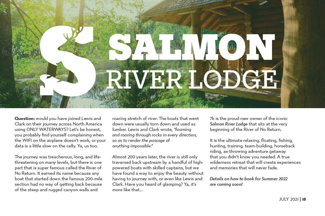 7k July 2021 Vault Report Salmon River Lodge