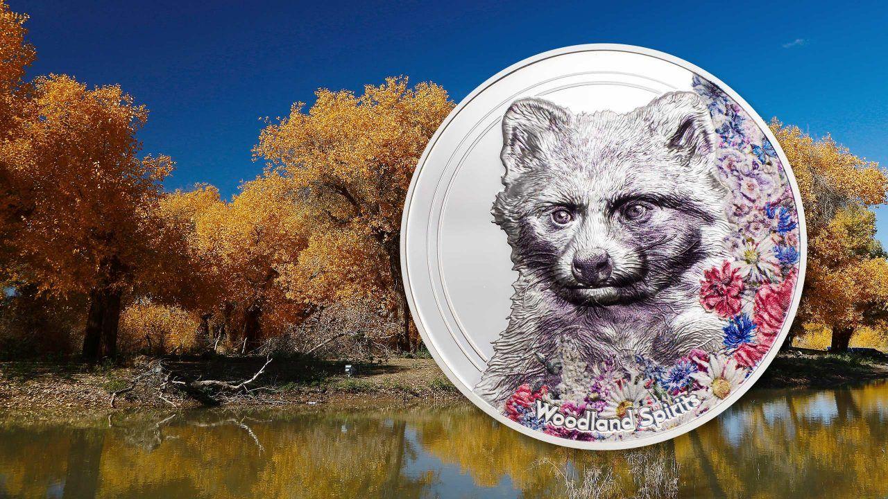2020 Woodland Spirits Raccoon Dog 1oz Silver Coin