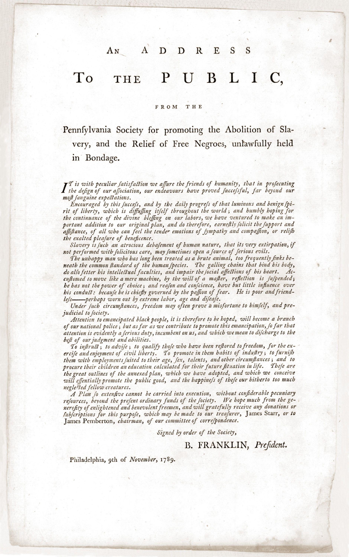 Benjamin Franklin Abolitionist