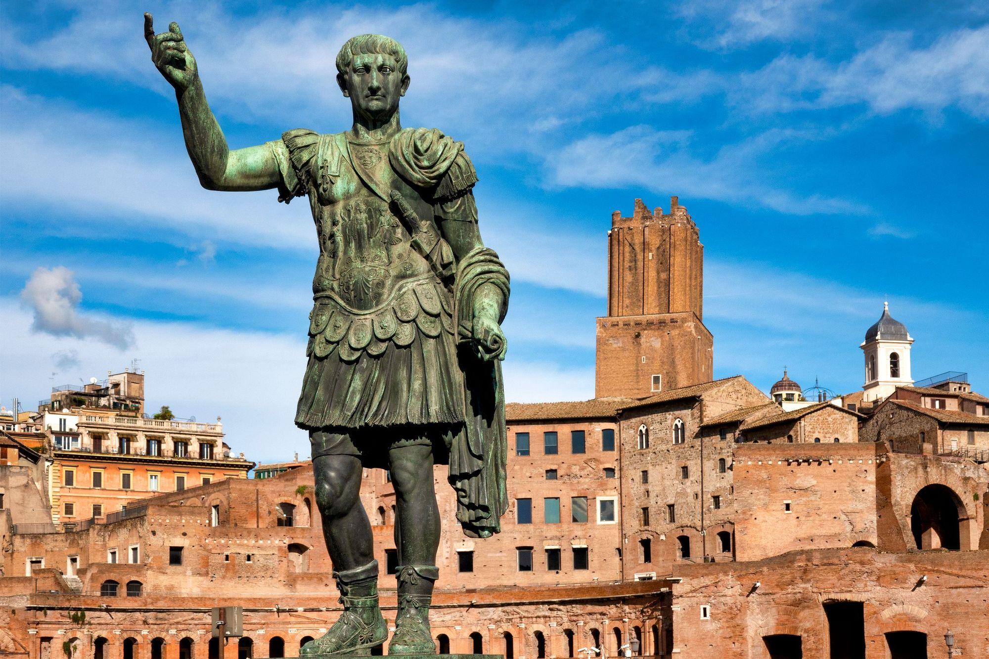 Bronze statue of emperor Caesar Nervae Trajan