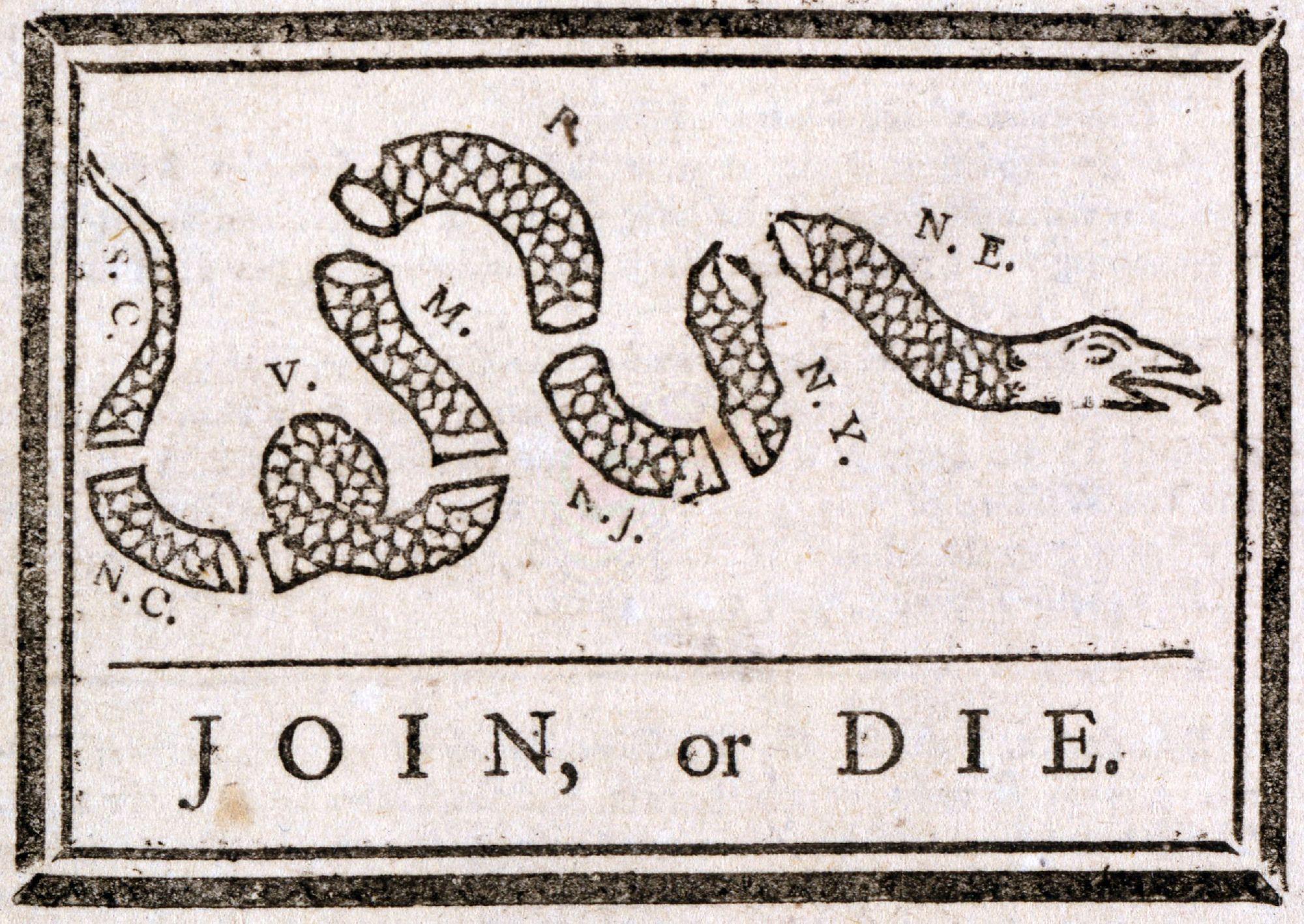Join or Die, Pennsylvania Gazette, circa 1754