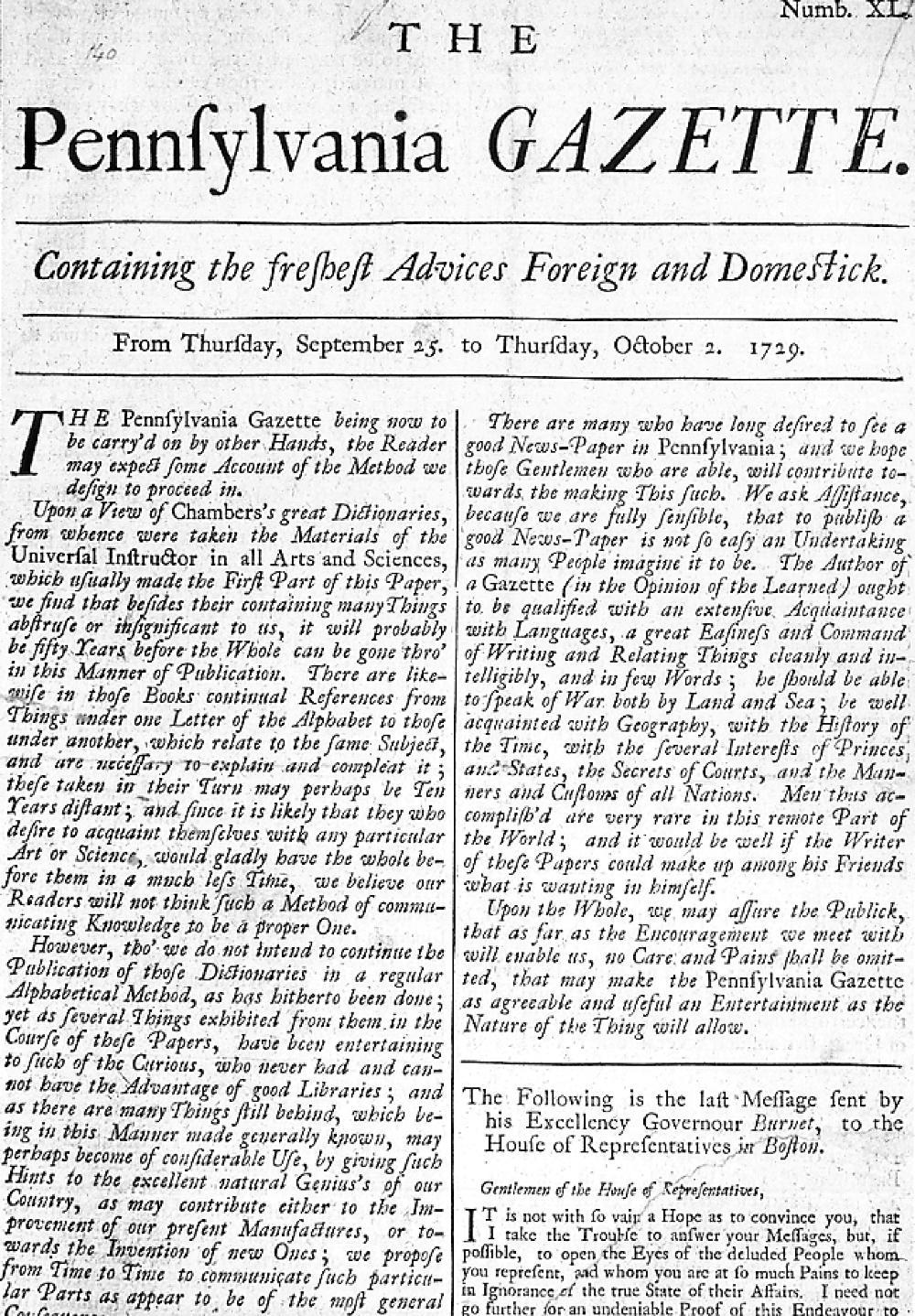 Pennsylvania Gazette 1729