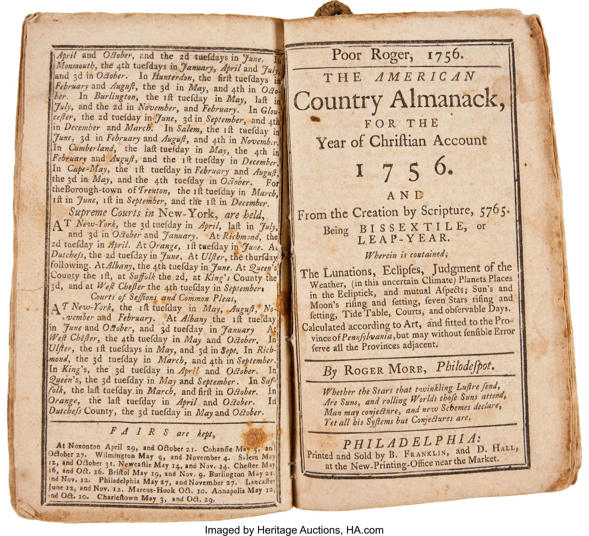 Poor Richard's Almanack, 1756