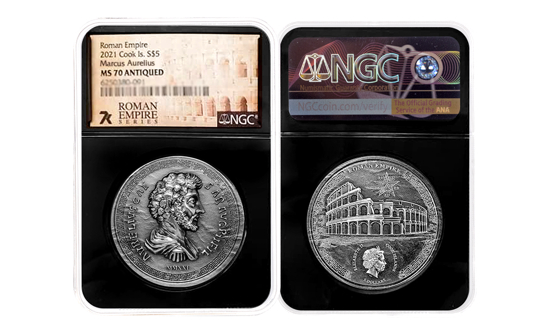 2021 Roman Empire Series Marcus Aurelius 1oz Silver Coin MS70