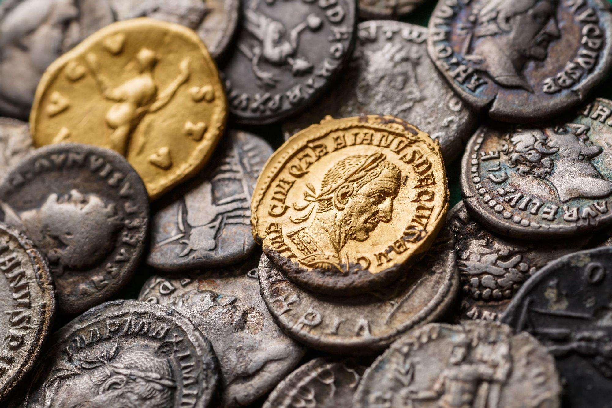 Trajan Decius among Roman gold and silver