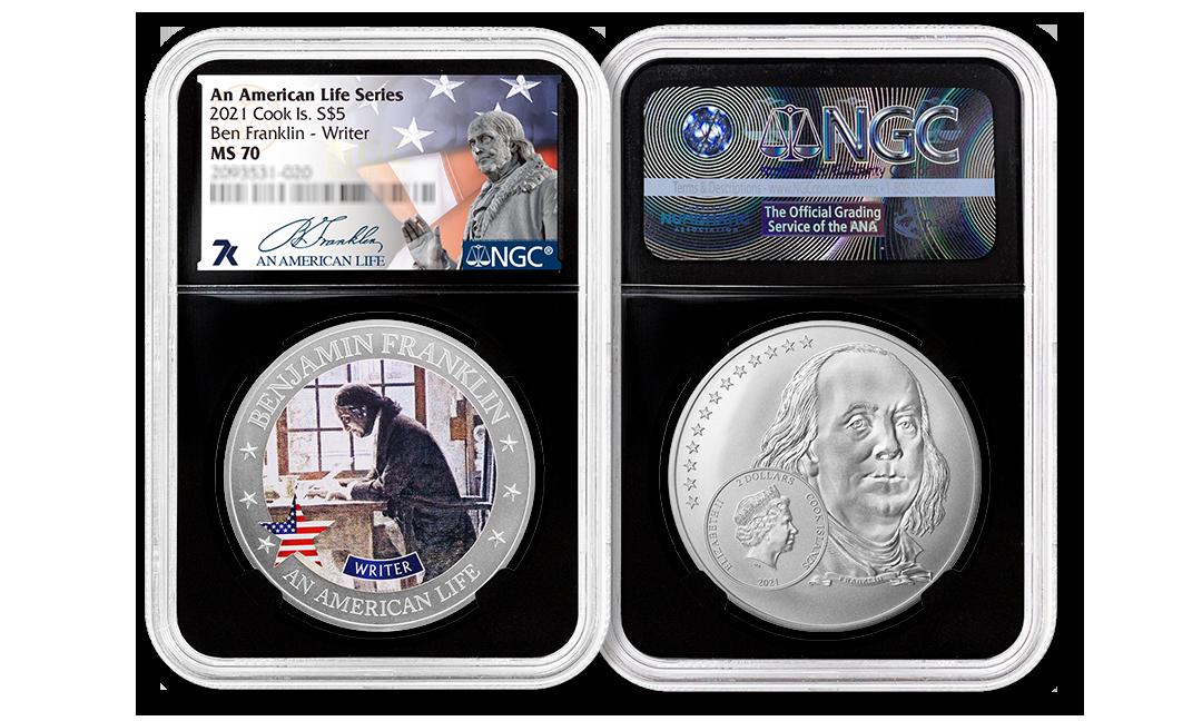 2021 An American Life Series Benjamin Franklin Writer MS70 Half Ounce Silver Coin