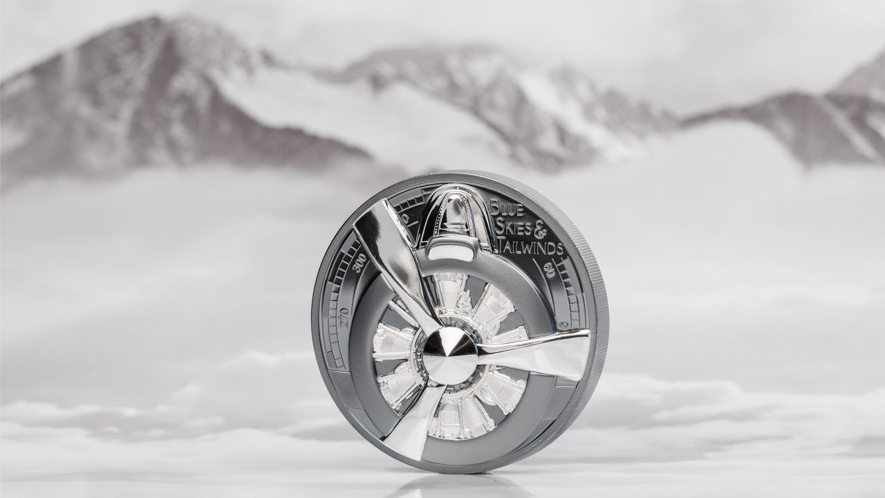 The Journey Airplane Propeller Blue Skies 2oz Silver Coin
