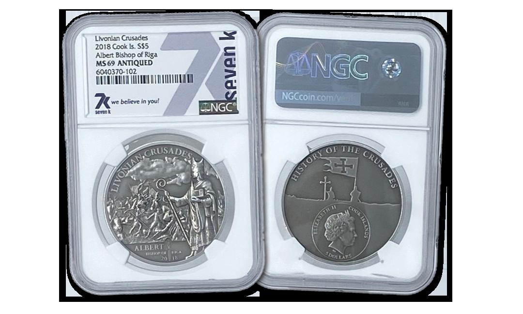 Albert Bishop of Riga Antiqued 1oz Silver Coin MS69