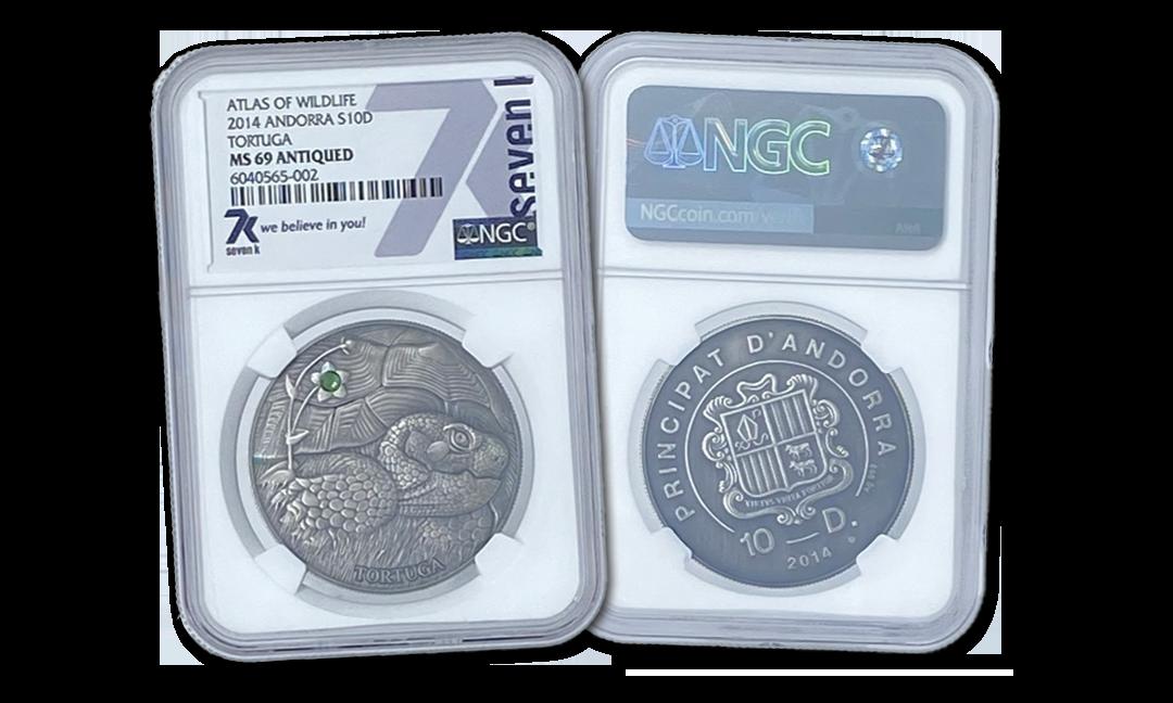 Atlas of Wildlife Tortuga 1oz Silver Coin MS69 2014
