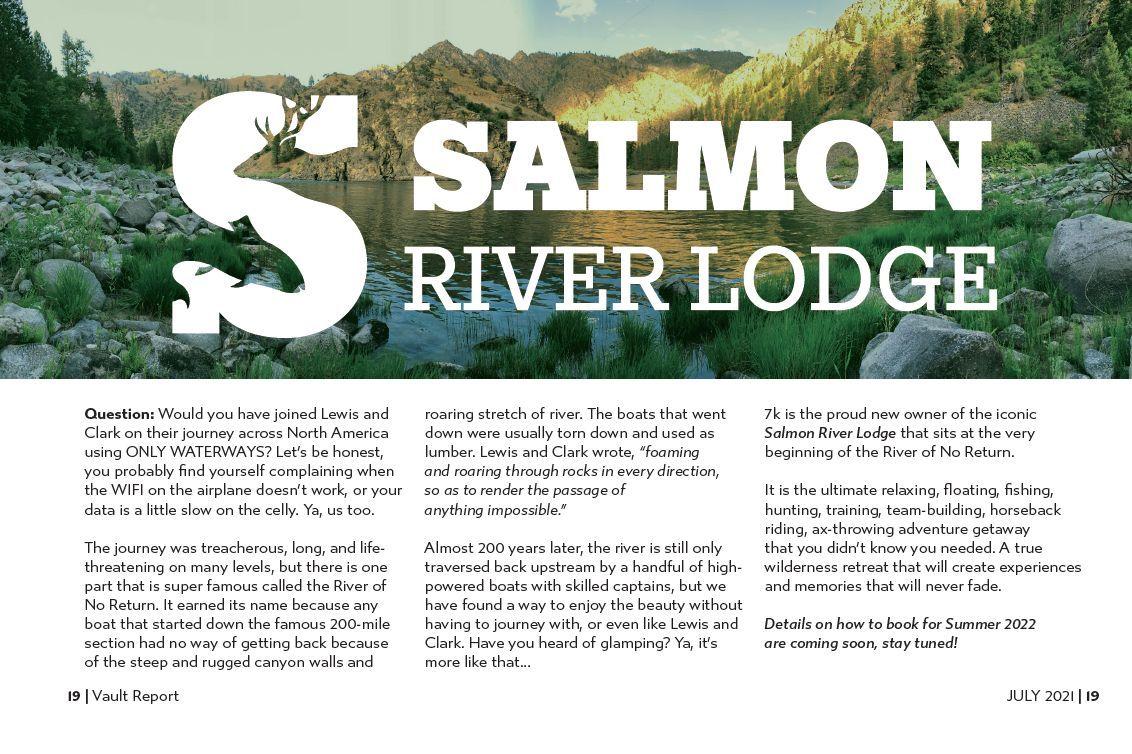 August 2021 7k Vault Report Salmon River Lodge