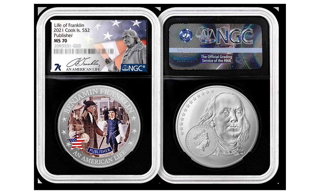 2021 An American Life Benjamin Franklin 1/2 oz Silver Coin MS70
