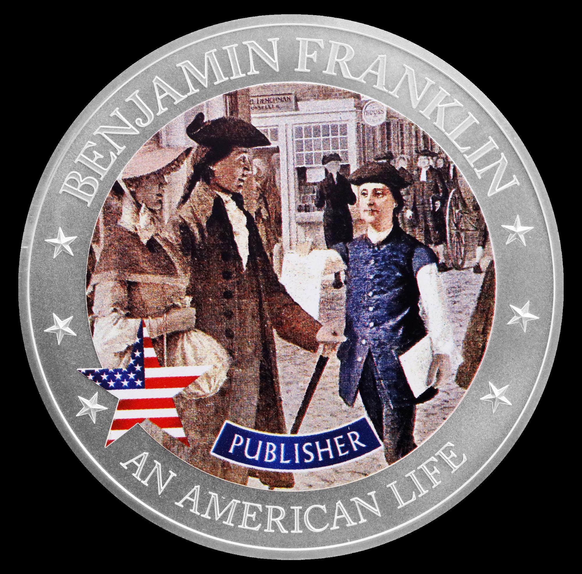 2021 An American Life Benjamin Franklin Publisher 1/2 oz Silver Coin