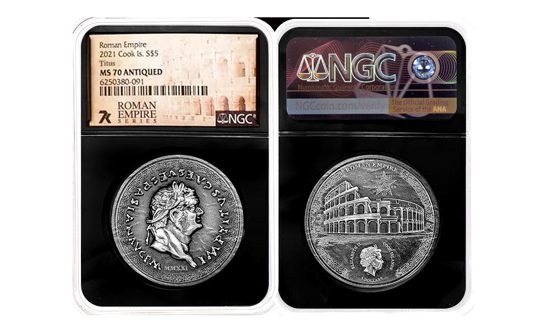 2021 Roman Empire Titus 1oz Silver Coin MS70