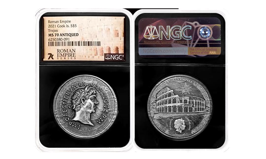 2021 Roman Empire Trajan 1oz Silver Coin MS70
