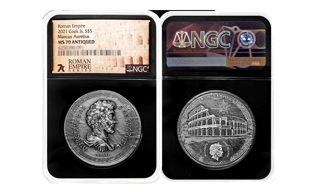 2021 Roman Empire Marcus Aurelius 1oz Silver Coin MS70