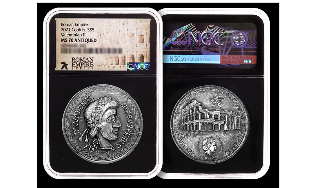 2021 Roman Empire Series Valentinian III 1oz Silver Coin MS70