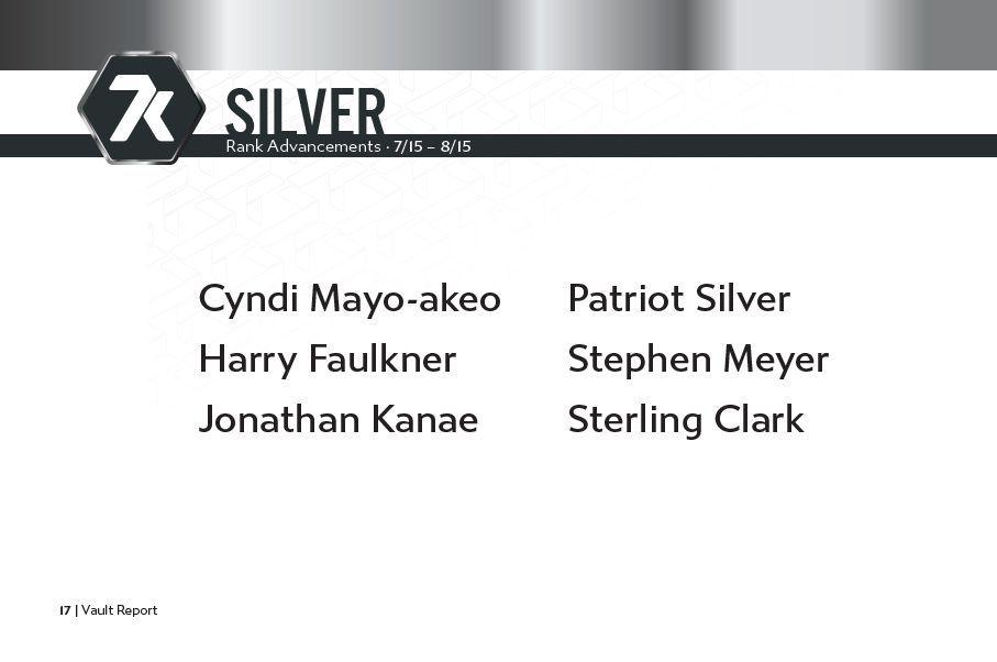 7k Metals Silver Rankups July 15 - August 15, 2021