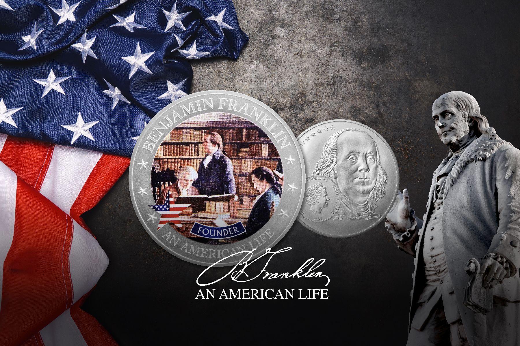 2021 An American Life Benjamin Franklin Founder 1/2 ounce Silver Coin