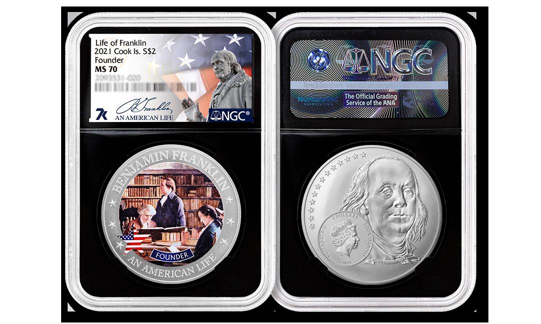 2021 An American Life Benjamin Franklin Founder 1/2 ounce Silver Coin MS70