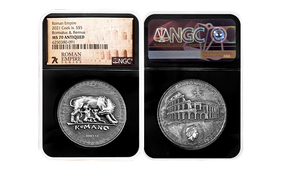 2021 Roman Empire Romulus & Remus 1oz Silver Coin MS70