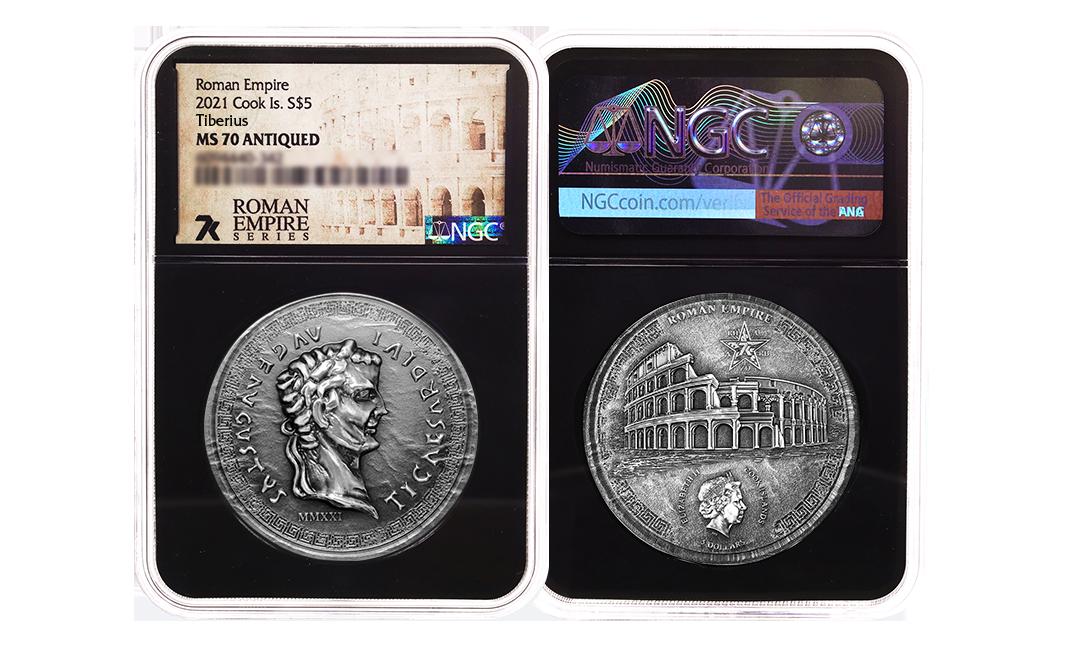 2021 Roman Empire Tiberius 1oz Silver Coin MS70