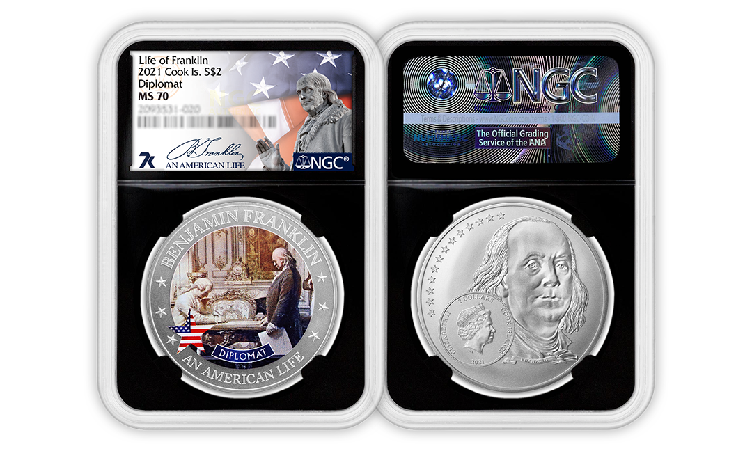 2021 An American Life Benjamin Franklin Diplomat 1/2oz Silver Coin MS70