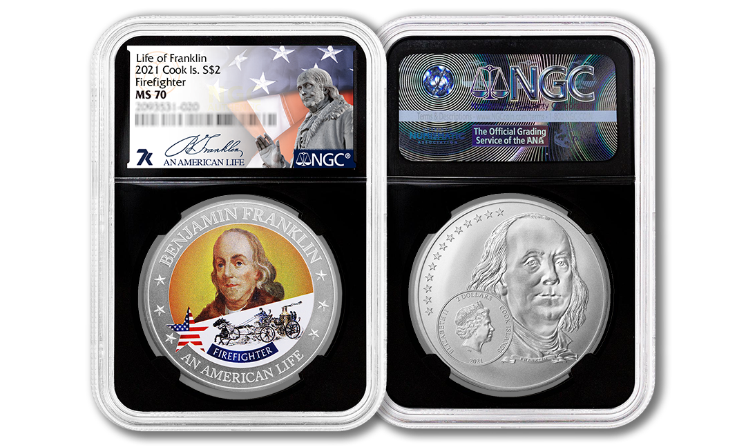 2021 An American Life Benjamin Franklin Firefighter 1/2 oz Silver Coin MS70