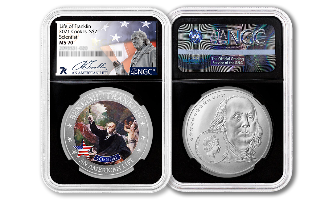 2021 An American Life Benjamin Franklin Scientist 1/2oz Silver Coin MS70