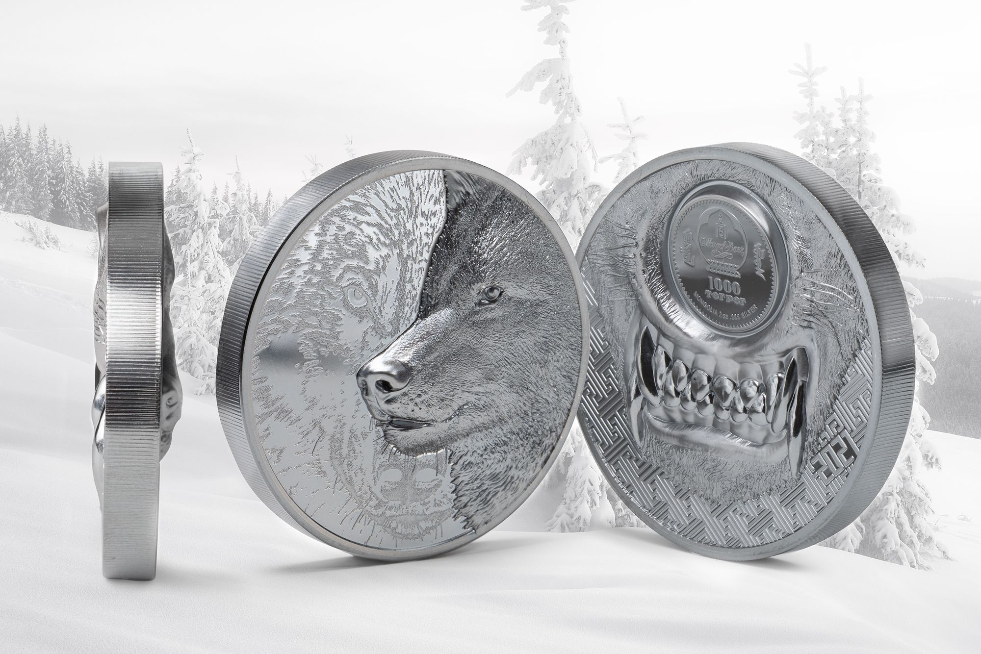 2021 Mystic Wolf Black Proof 2oz Silver Coin