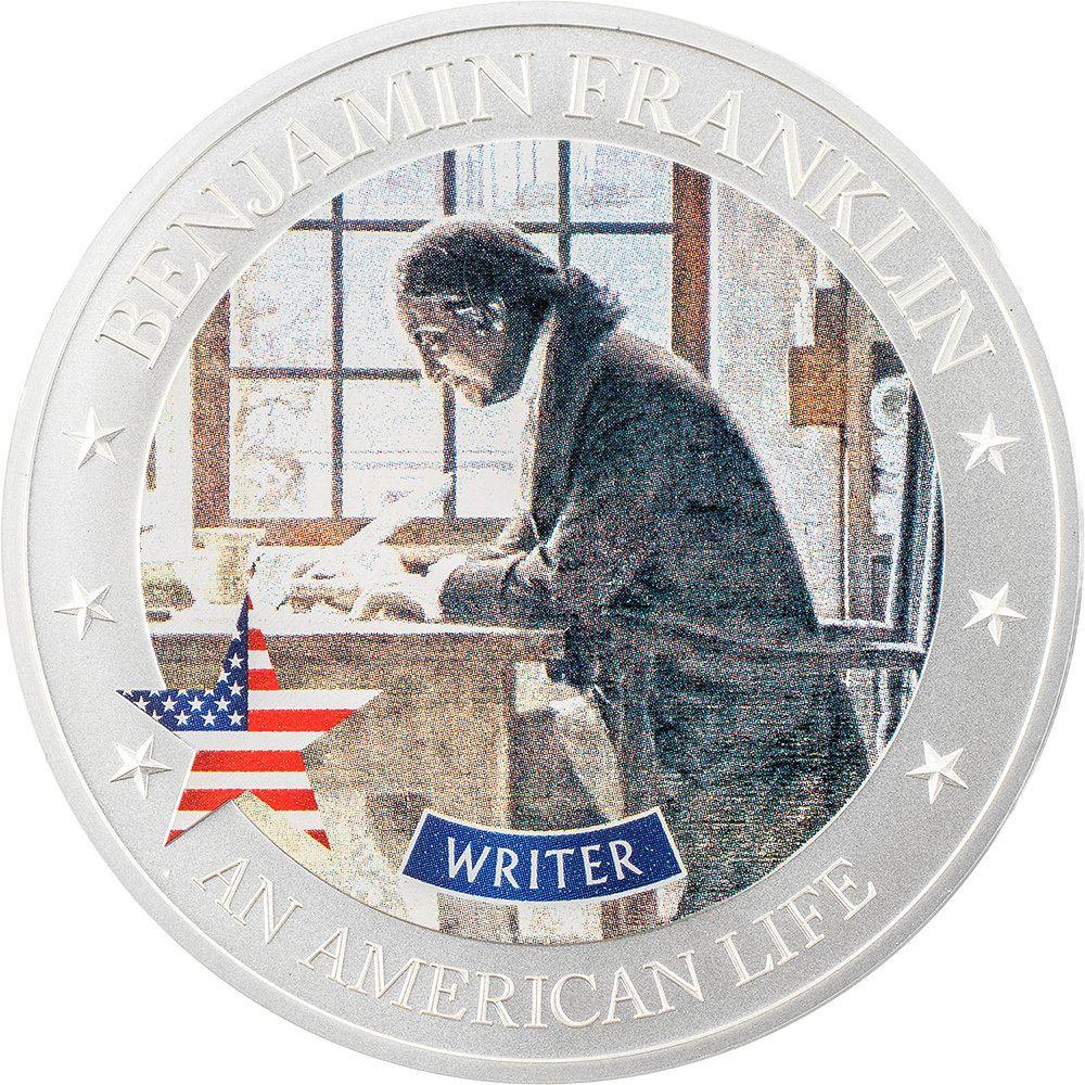 An American Life Benjamin Franklin Writer 1/2oz Silver Coin