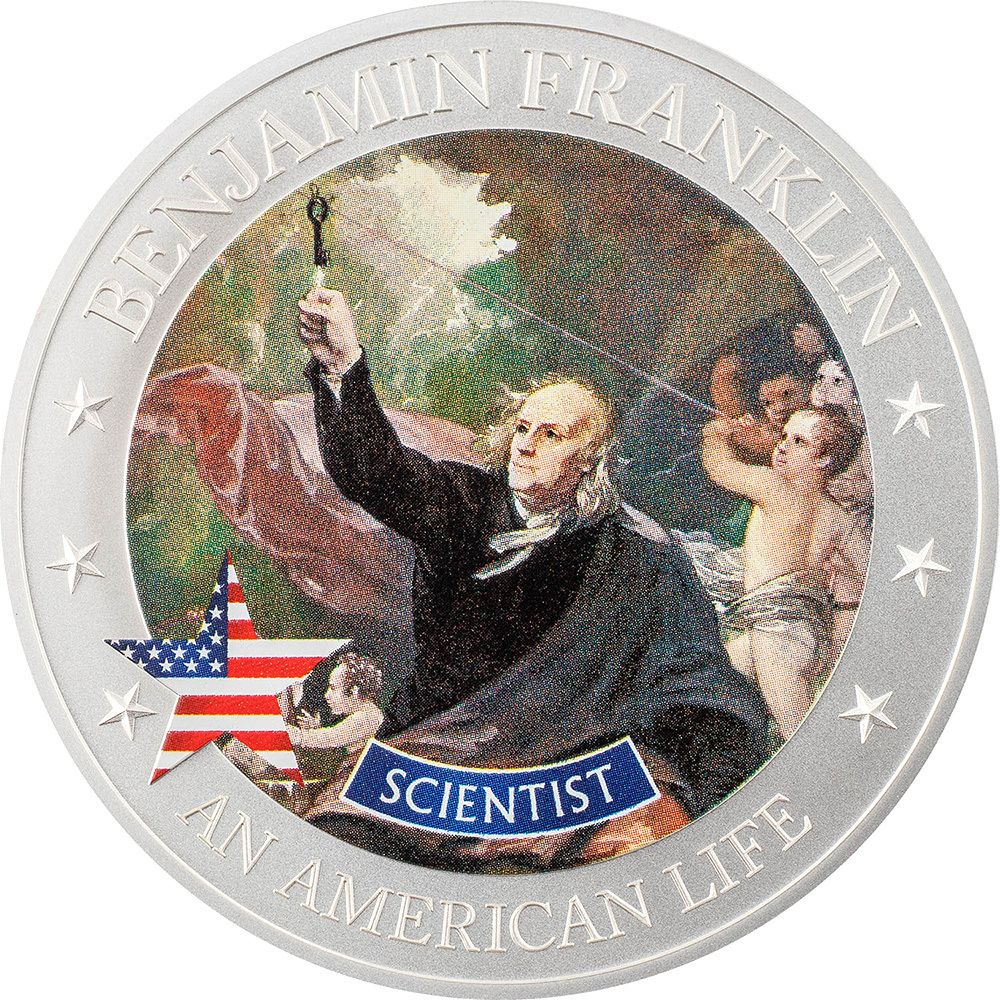 An American Life Benjamin Franklin Scientist 1/2oz Silver Coin