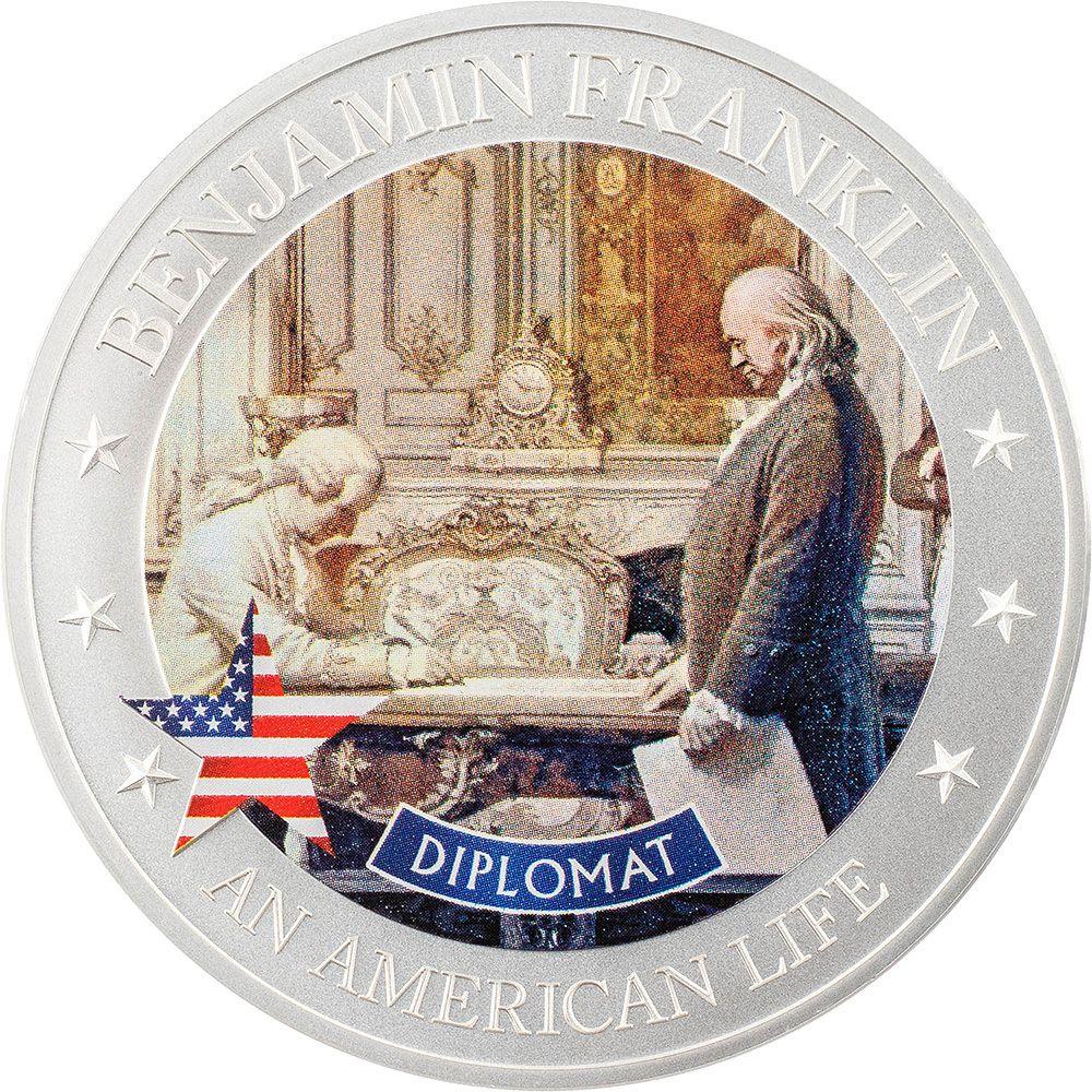 An American Life Benjamin Franklin Diplomat 1/2 oz Silver Coin 2021