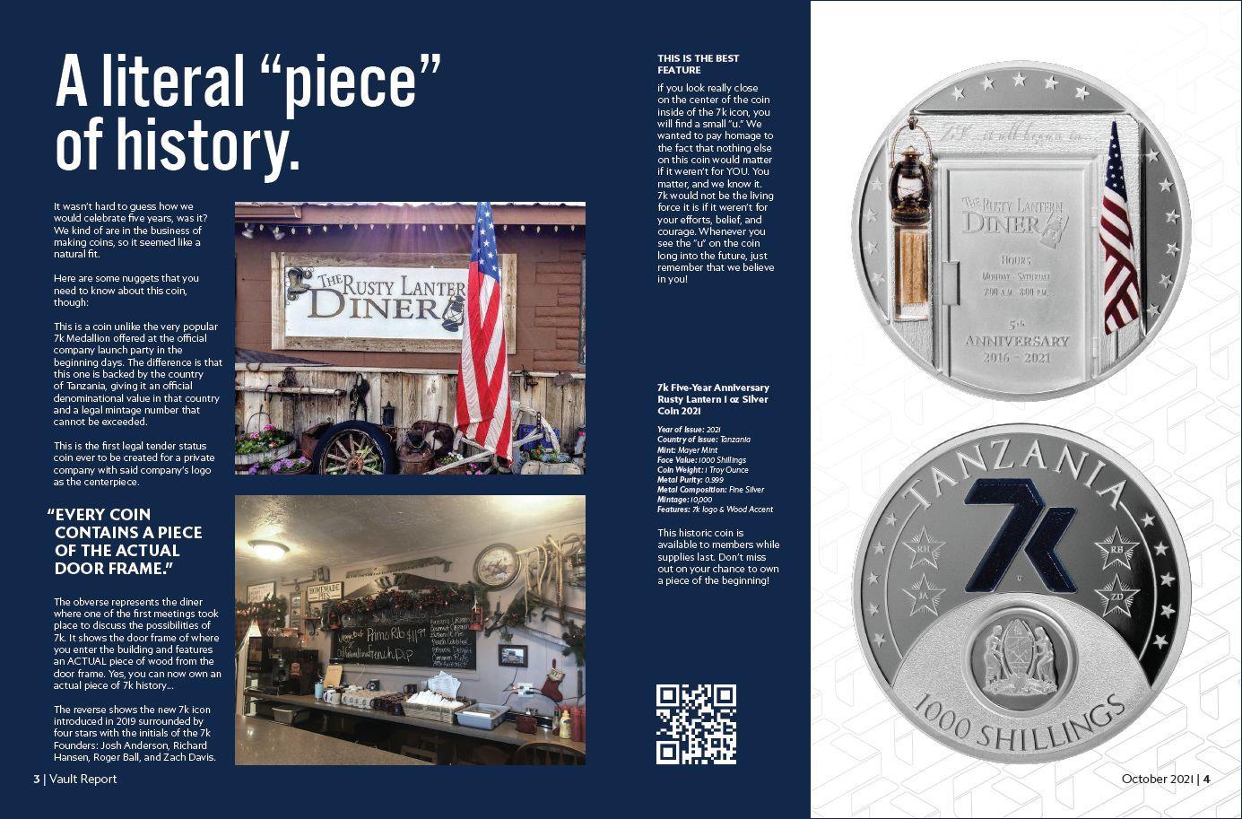 2021 Rusty Lantern 7k Anniversary 1oz Silver Coin