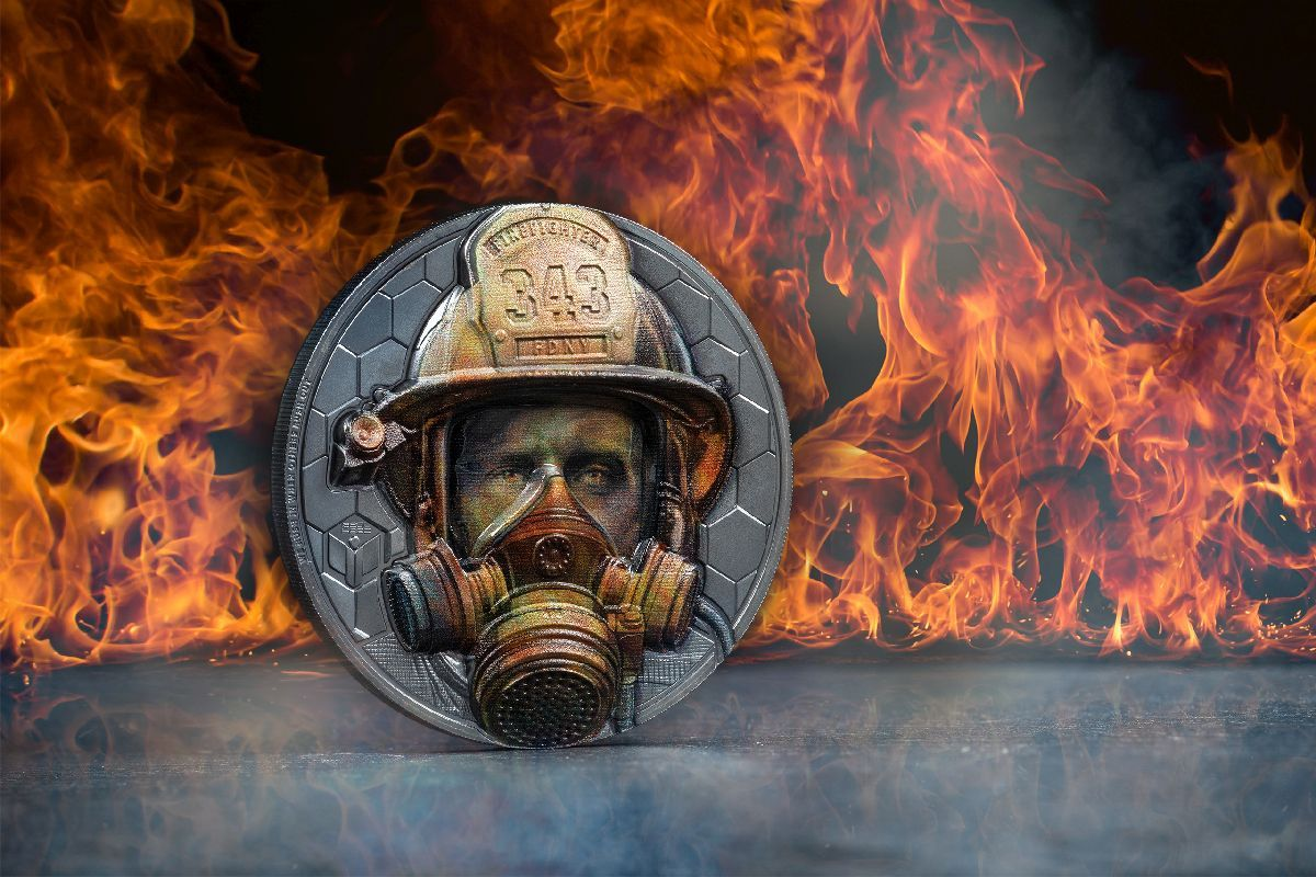 Real Heroes Firefighter 3oz Silver Coin
