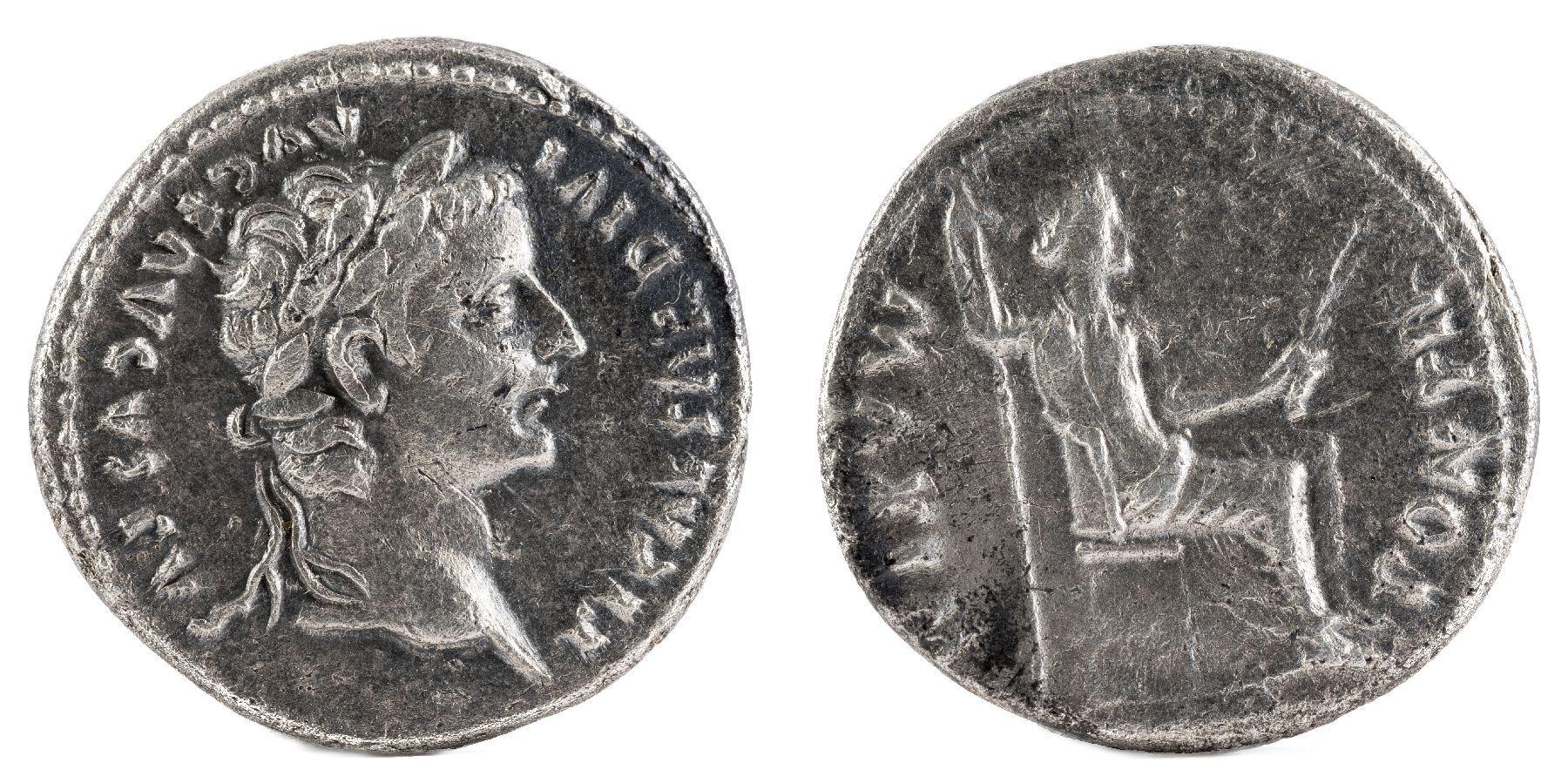 Ancient Roman Silver Denarius Coin of Emperor Tiberius