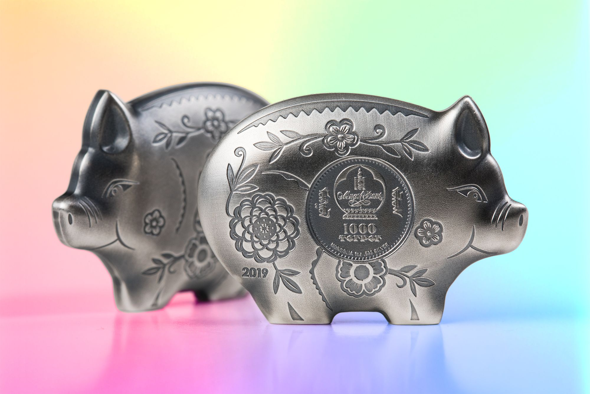 2019 Lunar Year Series Year of the Pig Jolly Silver Pig