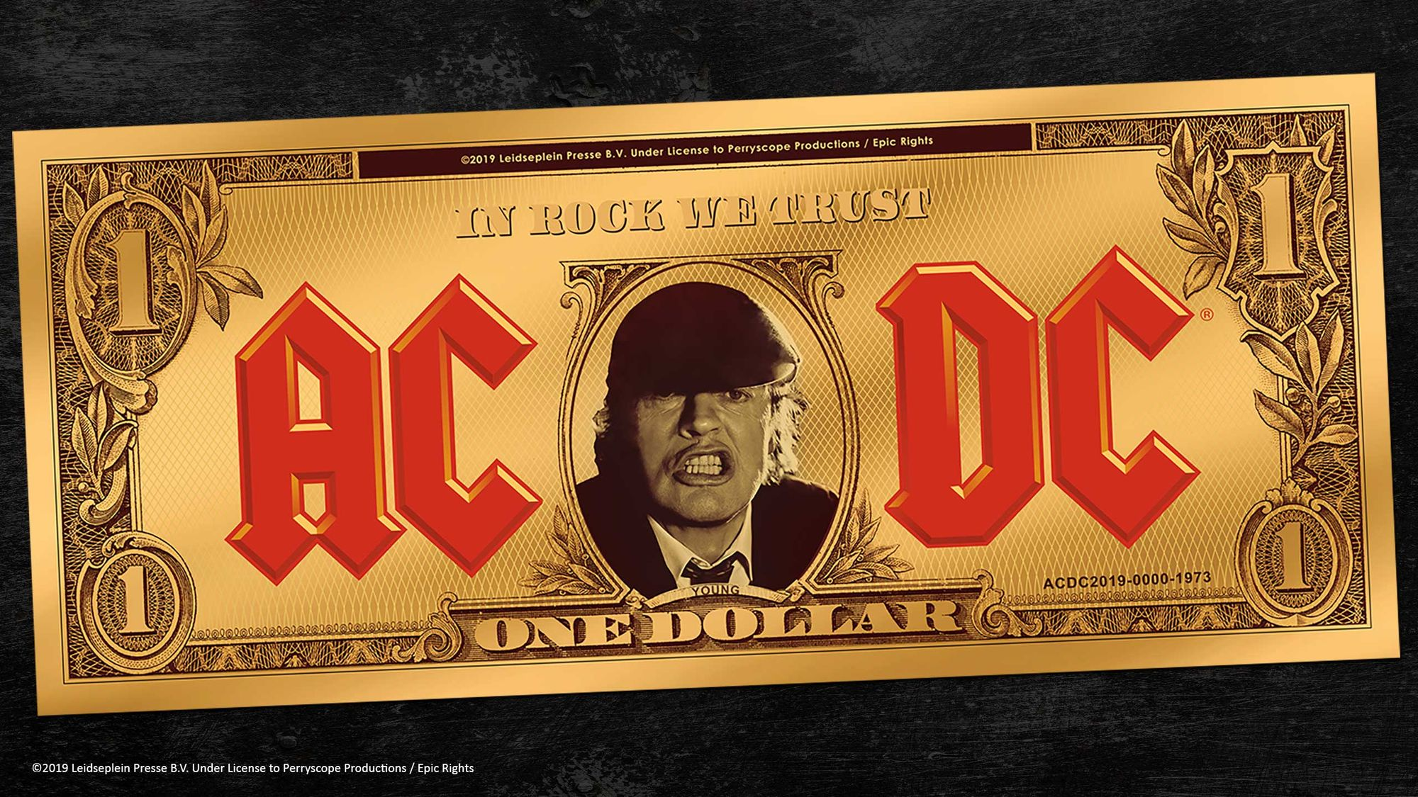 2019 AC/DC In Rock We Trust Angus Buck Gold Note